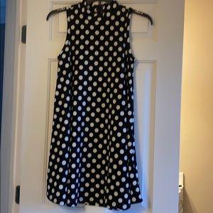 High neck polka dot dress
